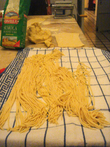 Fresh pasta laid out to dry.