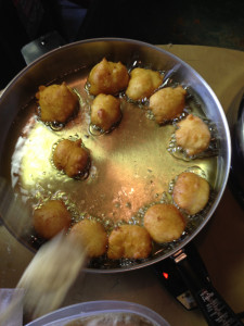 Keeping the oil at 360 to 375 degrees is key in making zeppole.