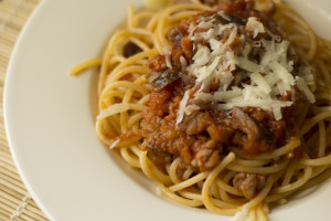 Spaghetti with eggplant and sausage